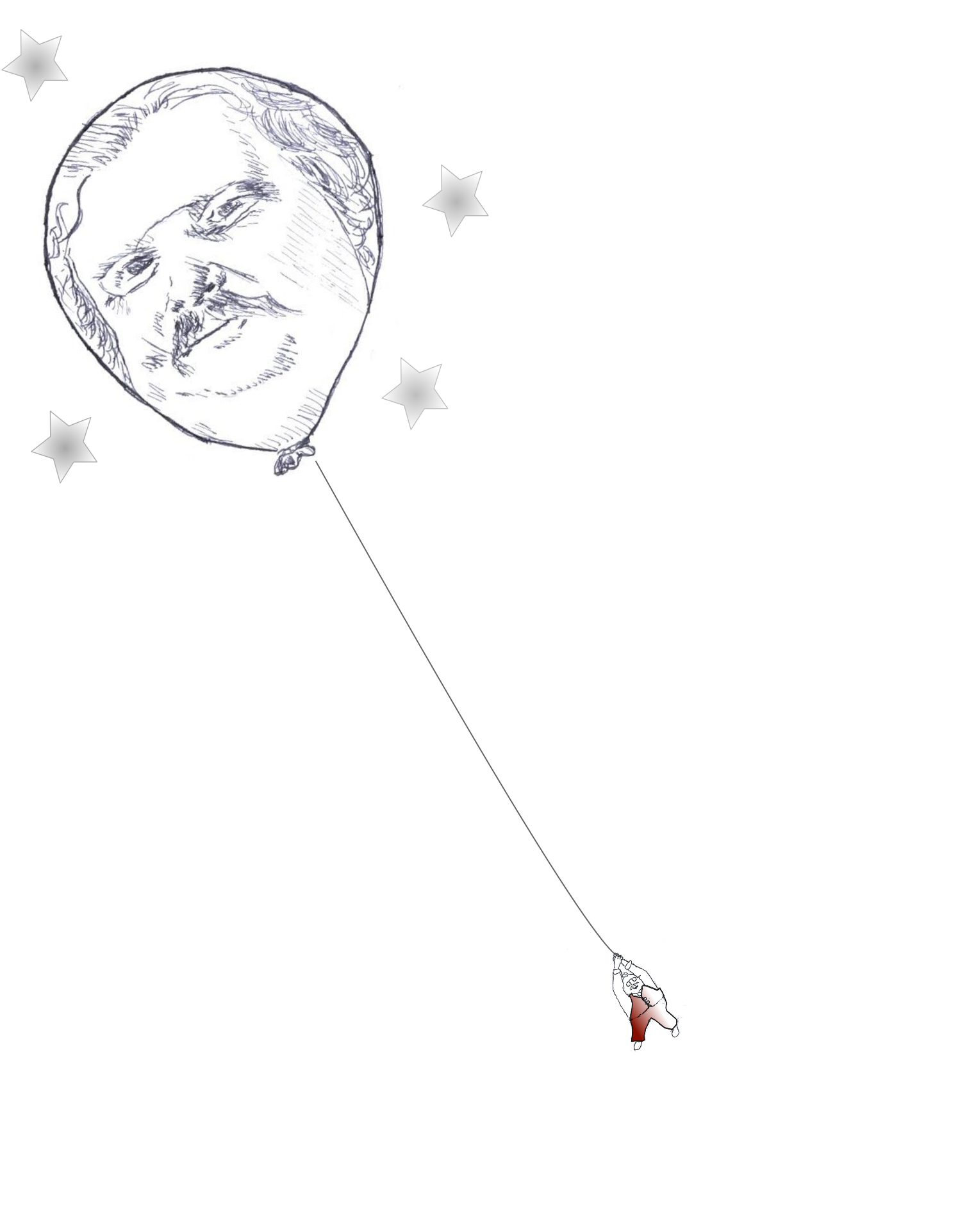 Illustration of Chesterton hanging onto a balloon that looks like his face