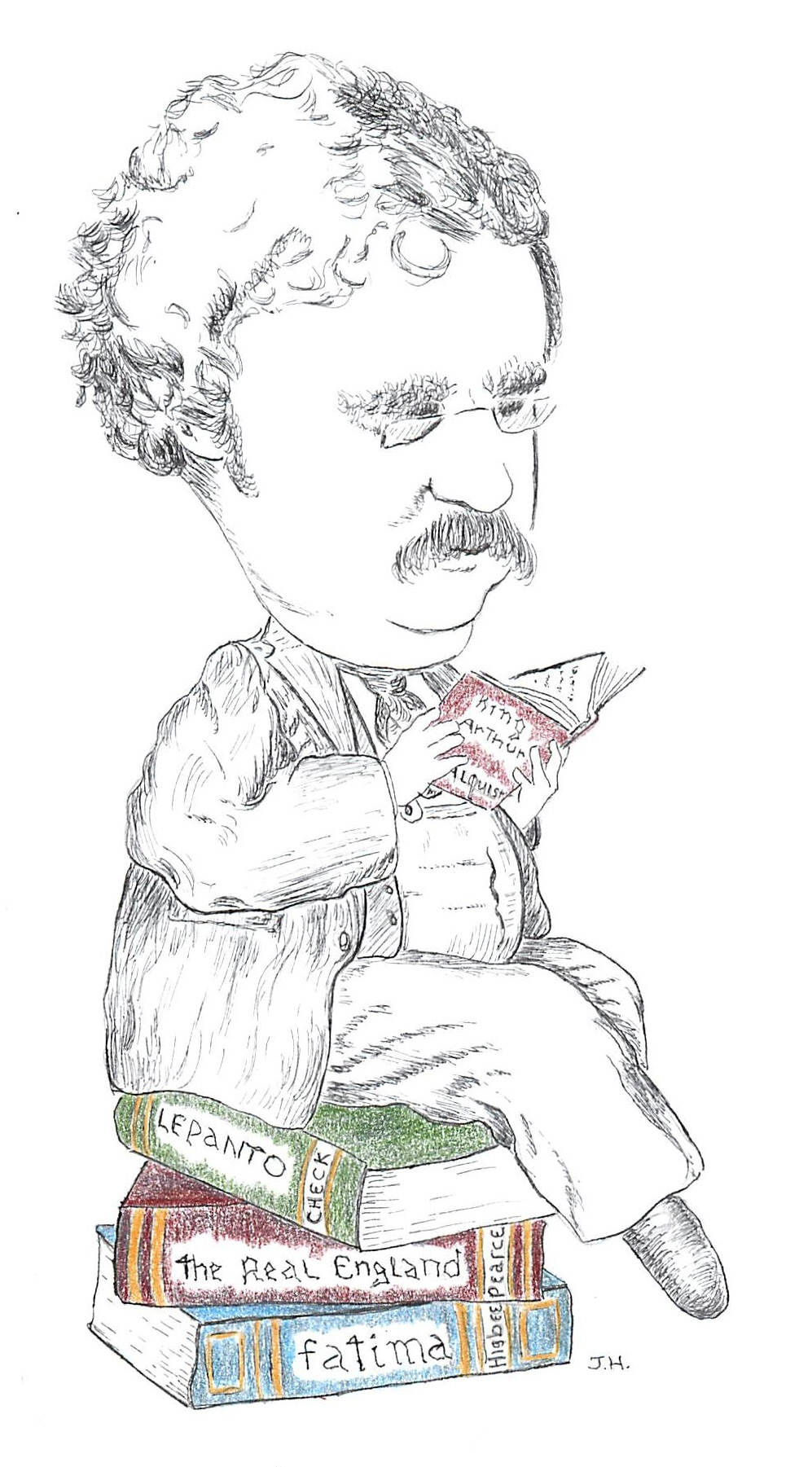 Illustration of Chesterton reading while sitting on a pile of books: Le panto, The Real England, Fatima